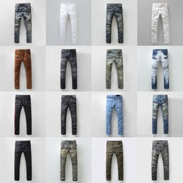 Wholesale BALMAIN jeans hot mens designer jeans famous brand balmai jeans men distressed jeans ripped denim balman Robin Jeans