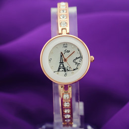 Free shipping!gold plating,alloy metal band and case,rhinestone deco band,effeil UP tower dial,jw fashion woman lady bracelet quartz watches
