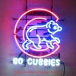 Wholesale Go Cubbies CUBs Neon Sign Neon Bulbs Led Signs Real Glass Tube Beer Lamp Handcrafted Decorate Beer Bar Pub Advertise Neon x17
