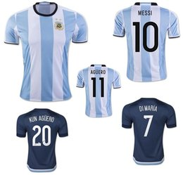 Wholesale 2016 Argentina Jerseys Soccer Uniforms Home White MESSI Argentine Football Shirt DI MARIA AGUERO KUN AGUERO LAVEZZI