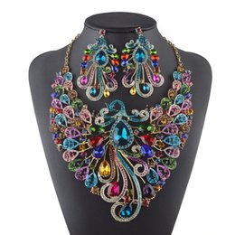 Wholesale New Gorgeous Jewelry Phoenix Bird Rhinestone Crystal Statement Necklace Earring Wedding Party Jewelry Set For Brides Accessories