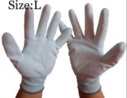 Men' PU Coated Glove Carbon Fibre Glove Dipped PU Large Size Nylon Protective Labor Working Gloves