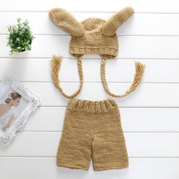 Wholesale 2016 new wool hand knit baby one hundred days photography clothing big ears yellow rice suit