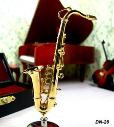 Wholesale 24K Gold plated Saxophone Sax SACHS Music Room BOXED Scale Dollhouse Furniture Miniatures kindergarten baby play toys