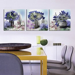 Free Shipping 3 Pieces unframed on Canvas Prints Cartoon flower peony fish Wooden boat wharf Purple tree potted flower Grape bird nest egg