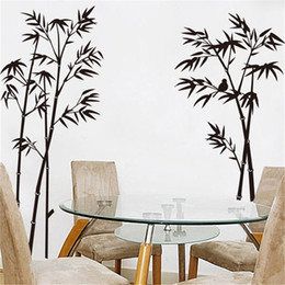 Wholesale 140x115cm Black Bamboo Plant Wall Stickers for Kids Rooms Living Room Home Decor Wall Decor Mural Art