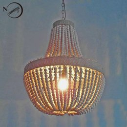 Wholesale Retro Antique loft vintage rustic round wooden beads pendant lamp E27 lamps lights with led for living room hotel bar cafe shop