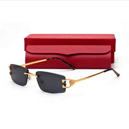 Wholesale Famous Brand Designer Filament Gold Rimless Sunglasses Fashion Eyeglasses Metal Alloy Frame Optical Frames Eyewear Oculos Buffalo Sunglasses