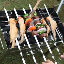 Wholesale Hot cm Stainless Steel Skewers Flat Meat BBQ Skewers Outdoor BBQ Barbecue Skewer Roasting Fork Long espeto inox