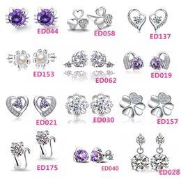Beautiful 925 Silver small Cat Kitty Crystal Heart imitation Diamond flower Stud earings Cheap fashion Jewelry for women
