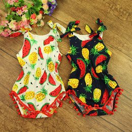 Unique_Unicorn 2016 Toddler Baby Rompers Infant Boys Girls Watermelon Pineapple Romper Baby Pure Cotton Tassel Jumpsuits