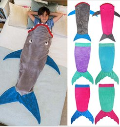 Wholesale Kids Mermaid Sleeping Bag Shark Sleep sacks Mermaid Blankets Mermaid Wrap Snuggle in Sleeping Bag Cocoon Costume KKA368