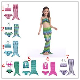 7 Design baby Girls mermaid tail Bikini Swimsuit children Fish scales Bikini Bathing Suit Swimsuit Beach Wear Swimming 3 piece set