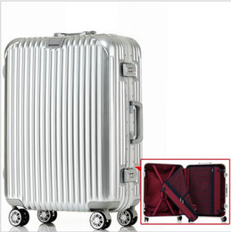 Wholesale 29 Inch TSA lock hook up PC aluminum frame universal wheel rolling Carry Ons luggage Classic groove design travel case Hardside suitcase
