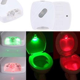 Wholesale Motion Sensor Light LED Toilet Seat Lamp Night Motion Light Toilet Bowl Home Bathroom Red Green Light Lamp