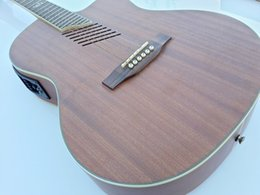 Wholesale full mahogany beveled hole good quality acoustic electric guitar