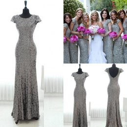 Discount junior plus pink bridesmaid dresses - Bling Grey Sequins Mermaid Bridesmaid Dresses 2016 with Short Sleeves Backless Bridesmaid Gowns Plus Size Long Junior Wedding Party Gowns
