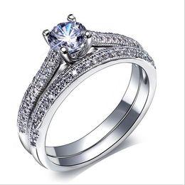 Acheter en ligne 925 ensembles de mariée-2016 Bridal Anneaux de mariage mis 925 cadeaux Sterling Silver Party Ring Ring doigt Bijoux Vintage Femme Mode Anneaux de mariage