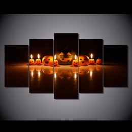 Wholesale 5 Set Framed Printed halloween pumpkin lantern Painting Canvas Print room decor print poster picture canvas NY