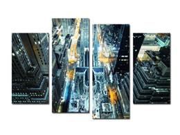 Ville peintures à l'huile de paysage en Ligne-(3) Belle grande ville Vue verticale Paysage Peinture à l'huile Art de mur Décoration intérieure Toile Peintures pour salon Sans cadre Livraison gratuite