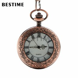 Wholesale BESTIME Watch Embossed Retro Red Copper Roman Numerals Quartz Movement Pocket Watch Value Quality for Mens