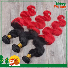 Ombre Hair Weave 8A Two Tone 1B Red Ombre Brazilian Body Wave Virgin Remy Human Hair Extensions 3 Bundle Deals With Free Shipping