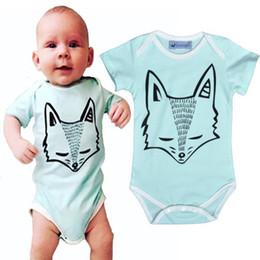 Wholesale 2016 INS Fox Romper For Boys Girls Clothing Short sleeve Baby Fox Rompers Summer Cartoon Newborn Bodysuits Fox Pattern Baby Clothes