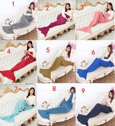 Wholesale Mermaid Tail Blanket Super Soft Hand Crocheted cartoon Sofa Blanket air condition blanket X90cm