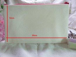 Wholesale 10pcs Girls NEW pure cotton canvas cosmetic Bags women blank plain zipper makeup bags Mobile phone clutch bag organizer cases pencil pouches