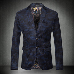 Wholesale-New 2016 fashion mens floral blazer high quality blue camouflage casual mens blazer jacket costume homme men's clothing