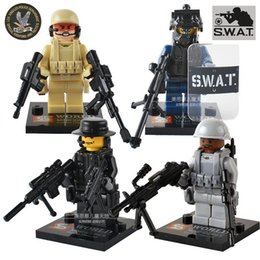 Wholesale 4pcs CS Squad Navy Seal Team Swat Army With Weapon Police City Officer Hero Riot Shield High Quality Building Bricks Blocks Set Toy Gift