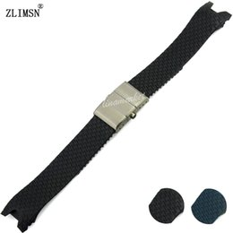 Watch Bands 20mm Silicone rubber Black OR Blue Diver Watch Strap Band Belt Mens Watches Watchband Rubber Relojes Hombre2016