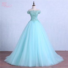 Wholesale Short Sleeve White Debutante Gowns - Hot Mint Green Masquerade Prom Dress Ball Gown Off Shoulder Ruched Tulle Lace Beaded Debutante Sweet 16 Girls Quinceanera Dresses Custom