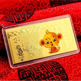 Wholesale Year of the Monkey real gold palting foil mini Bullion gold bar for investment collection g grams as gift for New Year