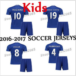 Wholesale 2016 Best quality Chelseaes Kids Soccer shirts HAZARD DIEGO COSTA home OSCAR CUSTOM Childrens soccer