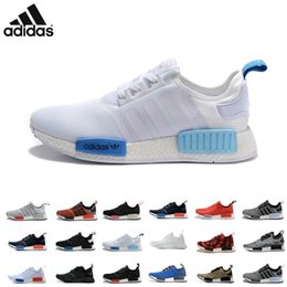 Wholesale Adidas Original Adidas Originals NMD R1 W quot Blue Glow quot Shoes Mens Women s Athletic Running sneaker Shoes Running Shoe Brand Boost With Box