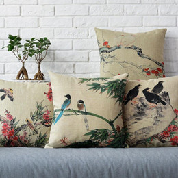 Wholesale 45cm Wash painting Bird Stand on Bamboo Cotton Linen Fabric Waist Pillow inch Hot Sale New Home Decorative Sofa Car Back Cushion