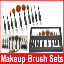 Wholesale Makeup Brush With box Beauty Toothbrush Shaped Foundation Power Makeup Oval Cream Puff Brushes sets Oval Brushes high quality