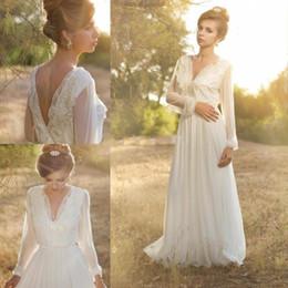 2016 Romantic Bohemian Wedding Dresses Long Sleeve Beach Sheer Chiffon with Lace V Neck vestido de festa Boho Bridal Gowns White
