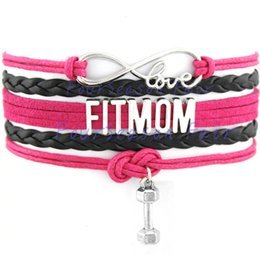 Wholesale Custom Hot Infinity Love Fit Mom Bracelet Dumbbell Wax Cords Wrap Braided Leather Adjustable Bangles Best Gift For Fit Mom Drop Shipping