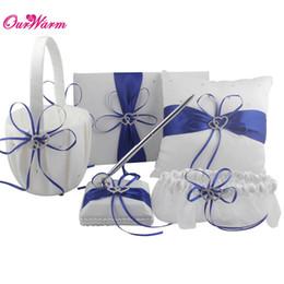 Wholesale 5pcs Set Double Diamante Heart Ring Pillow Cushion Set for Wedding decor Pen Set Guest Book Flower Basket Ring Pillow Garter