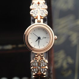Free shipping!flower with rhinestone design metal band,gold plate round case,jw fashion woman lady quartz bracelet watches