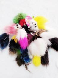 Butterfly Led Accessories The Fox's Tail Mixed Color Fur Ball Key Chain Animals Cute Keychains Wholesale