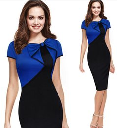 Wholesale 2016 VfEmage Womens Summer Elegant Vintage Asymmetric Bow Pinup Patchwork Casual Wear to Work Business Party Pencil Sheath Dress