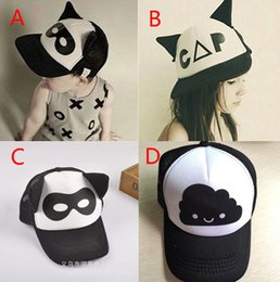 Wholesale Baby Boys girls INS caps hats New Color children Fashion Cartoon Batman ins flaky clouds mask Baseball Cap Hip hop Hats B001