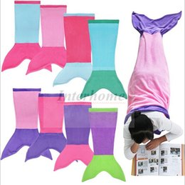 Wholesale Kids Mermaid Tail Sleeping Bags Shark Mermaid Blankets Costumes Soft Handmade Mermail Tail Sleeping Bag Shark Snuggle in Cocoon Bed B669