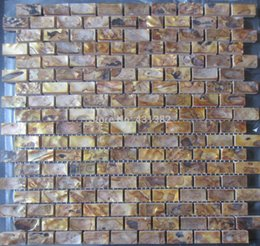 Wholesale Antique Gold color tiles natural color MOP shell wall mosaic tiles brick tile for interior decoration