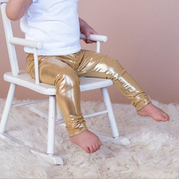Wholesale NWT INS hot baby toddler Kids Girls Faux Leather Tights Leggings Shiny Silver Gold Golden Tight pants babies clothes children s clothing