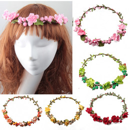 Wholesale Rattan Artificial Berries Flower Headpiece Headband Hairband Head Wreath DIY Floral Bridal Garland Crown Halo Wedding Hair Accessories