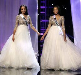 Wholesale Special Occasion Dresses Teens - New Arrival 2016 Miss Teen USA Pageant Dresses Deep V Neck Long Sleeves Gold Lace White Tulle Skirt Formal Evening Special Occasion Gowns